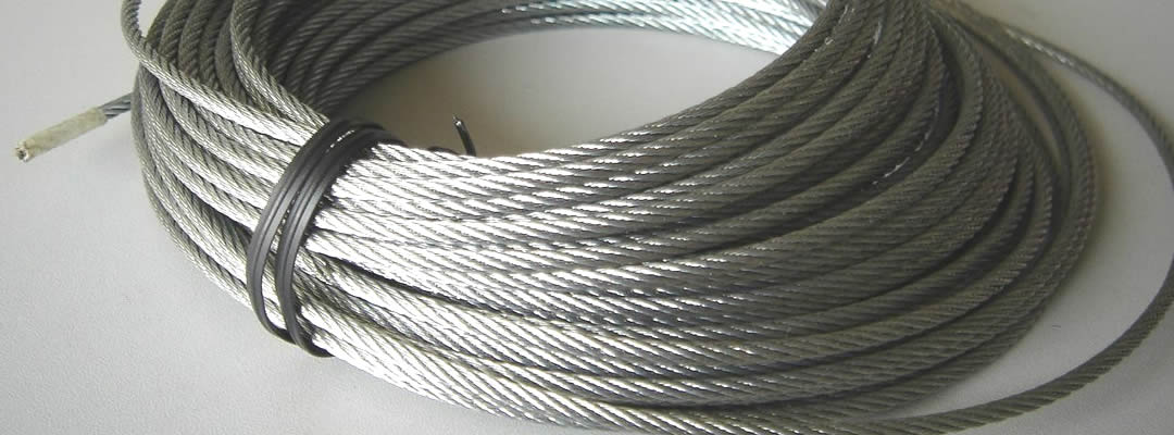 A coil of fully lubricated bright steel wire rope