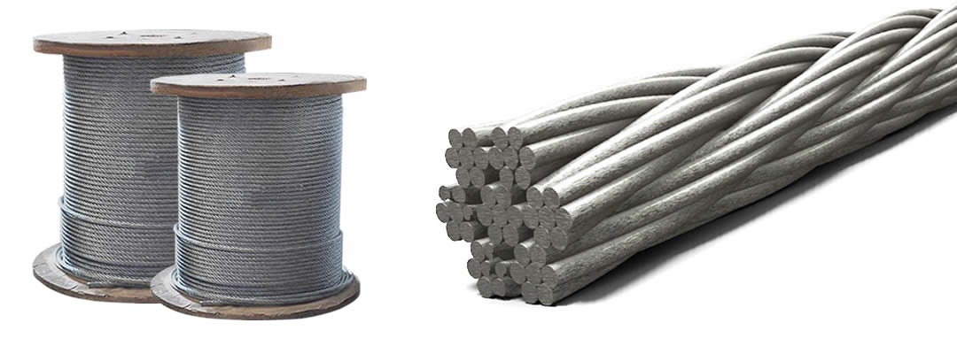 two spools galvanized and a short rope with GWR 7 × 7 WSC construction