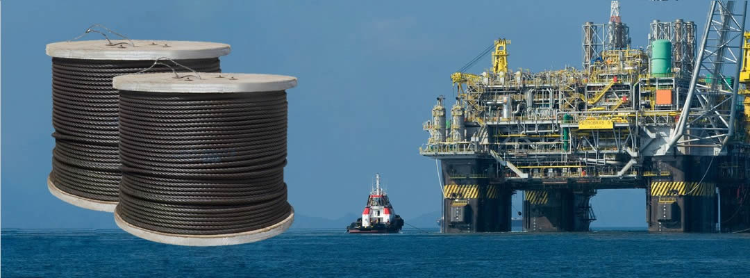 two spools gas & oilfield wire ropes for oil platform use on the sea