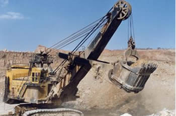 Mining steel wire ropes service as drag lines for surface mining.