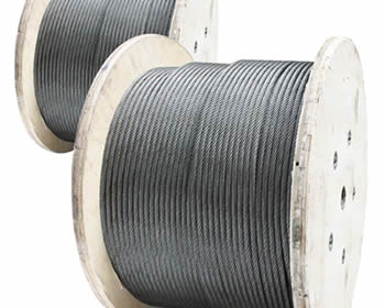 Two coils of stainless steel wire rope